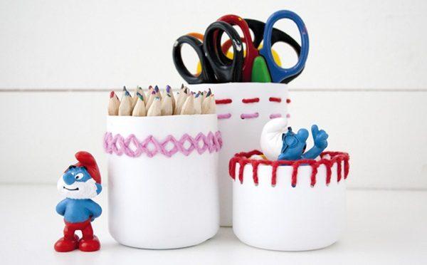 cách làm hộp đựng bút bằng chai nhựa và len 4