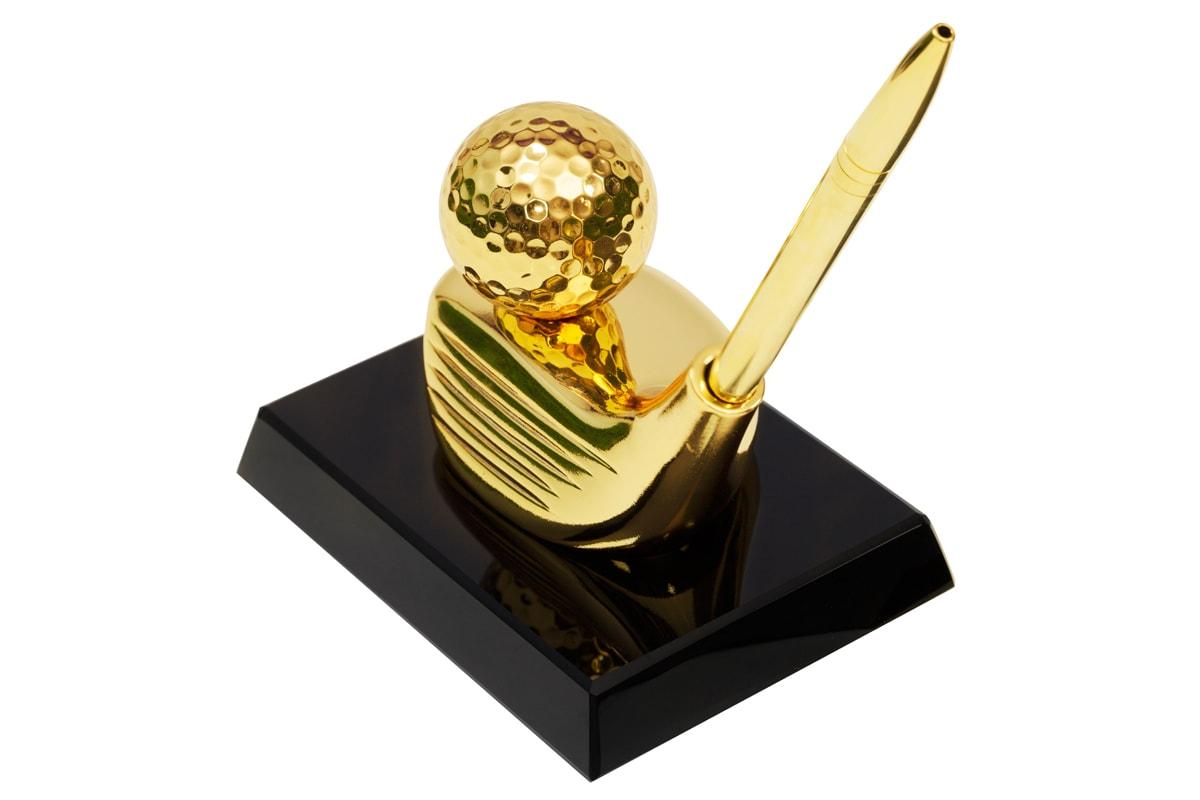 Cắm bút bằng gỗ kết hợp kim loại mạ vàng