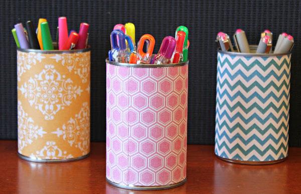 hộp đựng bút để bàn handmade bằng lon sữa 1