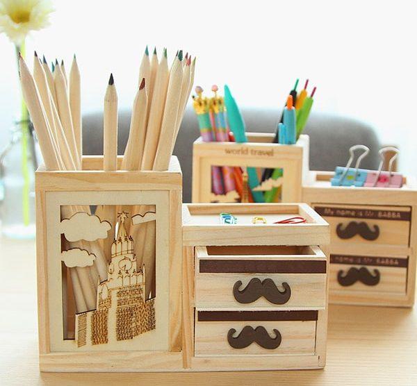 hộp đựng bút văn phòng bằng gỗ 4