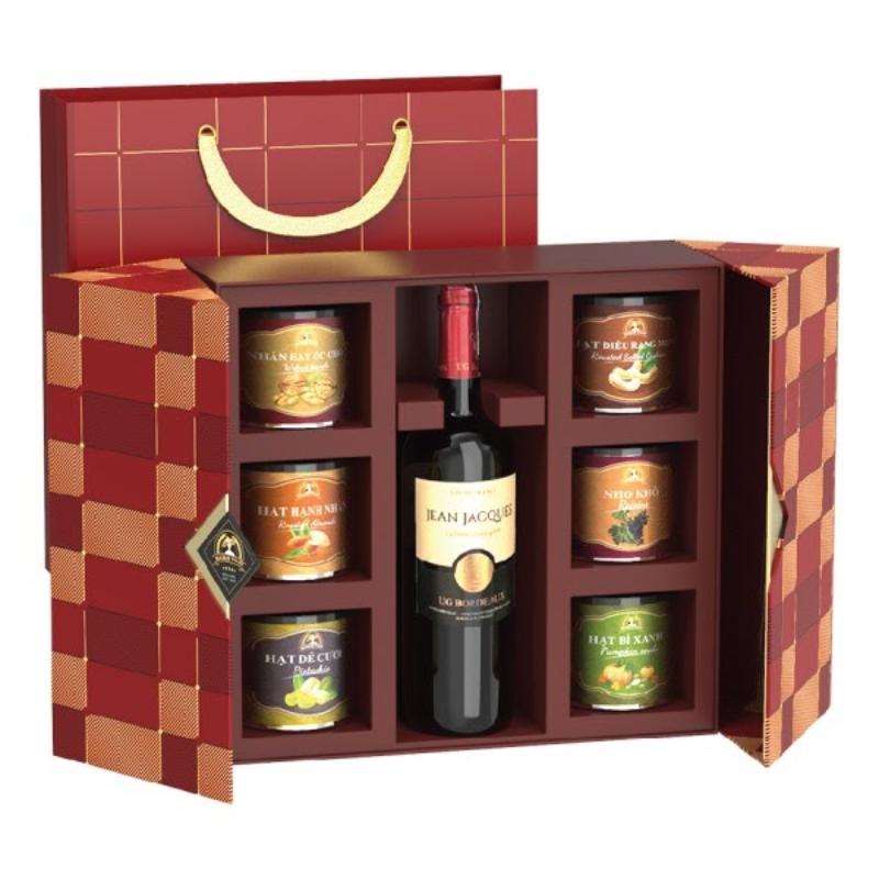 Set quà hạt dinh dưỡng và rượu vang cao cấp 2022